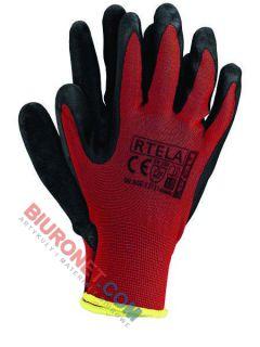 Rękawice robocze, ochronne, RTELA, czerwono-czarne