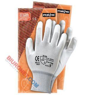 Rękawice robocze RNYPO, powlekane poliuretanem, białe