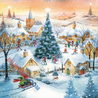 Serwetki ozdobne Gwiazdka, z motywem Christmas Tree in Town, 20 sztuk