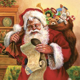Serwetki ozdobne Gwiazdka, z motywem Santa Checking His List, 20 sztuk