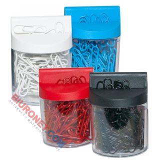 Spinacze kolorowe 28mm Office Products, powlekane, w pojemniku magnetycznym, 100 sztuk