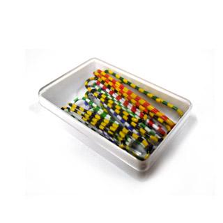 Spinacze kolorowe - zebra 50 mm w pudełku plastikowym opk. 12 szt