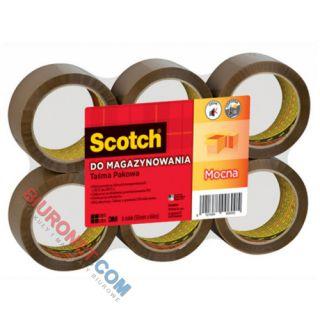 Taśma pakowa Scotch 50mm x 66m, do magazynowania, cicha i mocna, 6 sztuk