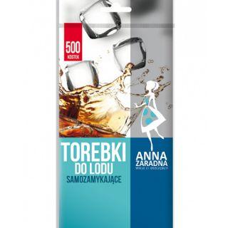 Torebki do lodu Anna Zaradna, samozamykające, bezbarwne worki do kostek lodu 500 kostek