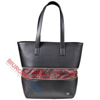 Wenger Eva, torba damska z etui na laptop, powiększana, czarna z motywem kwiatowym