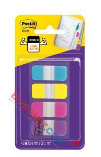 Zakładki do archiwizacji Post-it Index Strong, 16 x 38 mm, 4 kolory po 10 sztuki 4 kolory
