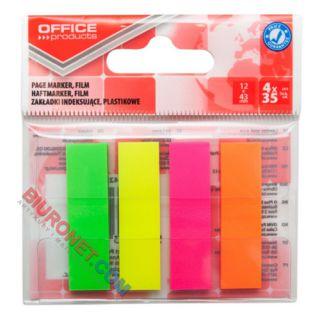 Zakładki indeksujące Office Products 12 x 43 mm, foliowe paski neonowe, 140 sztuk w zawieszce