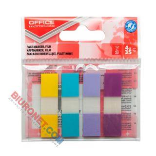 Zakładki indeksujące Office Products 12 x 43 mm, foliowe paski pastelowe, 140 sztuk w zawieszce