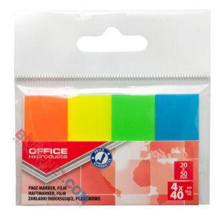 Zakładki indeksujące Office Products 20 x 50 mm, foliowe paski neonowe, 160 sztuk w zawieszce