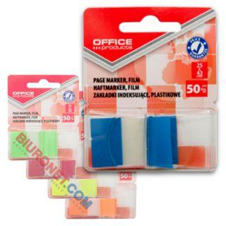 Zakładki indeksujące Office Products 25 x 43 mm, foliowe paski, 50 sztuk w dyspenserze
