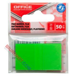 Zakładki indeksujące Office Products 25 x 43 mm, foliowe paski, 50 sztuk w zawieszce