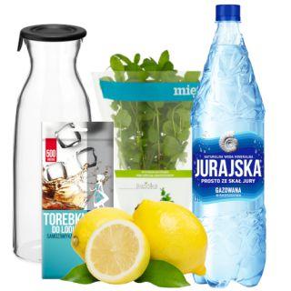 Zestaw do przygotowania orzeźwiającej lemoniady, woda gazowana, cytryny, mięta, worki na lód + karafka gazowana