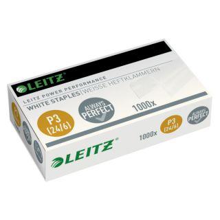 Zszywki białe Leitz Power Performance, niewidoczne na papierze i kopiach, 1000 sztuk rozmiar 24/6 - P3